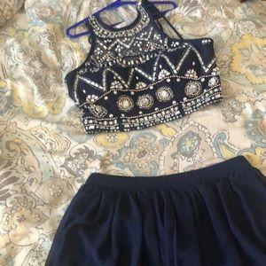 Dresses & Skirts - Navy blue 2 piece dress.